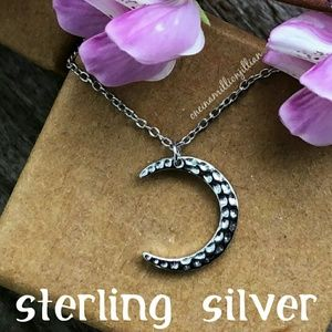 Sterling Silver Hammered Crescent Moon Necklace